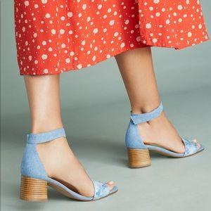 🆕NWT Anthropologie daisy embellished denim heels